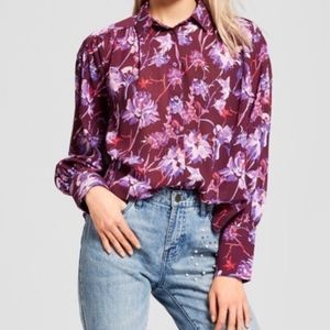 Who What Wear Long Sleeve Floral Puff Shirt